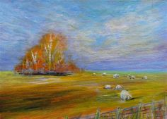 """""""Cat # 14022 SHEEP IN PASTURE ACEO or ATC"""" by Sea Dean - PREMIUM MINIATURE Professional Acrylic finished to exacting collector standards. Signed front and back and including a Certificate of Authenticity. I'm always happy to recreate one of my miniatures in a larger size on commission #seadean #paintamasterpiece #ACEO #ATC #painting #sheep #farm #country - Copyright 2014 Sea Dean. Pins or shares permitted with this description attached."""