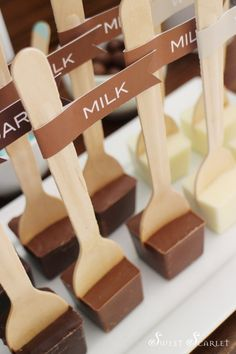 Hot Cocoa Bar Party a Delicious Chocolate and pale blue themed party by Sweet Scarlet Designs Hot Chocolate Party, Chocolate Sticks, Chocolate Spoons, Delicious Chocolate, White Chocolate, Chocolate Bars, Chocolate Navidad, Hot Cocoa Bar, Cafe Food