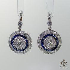 Antique Art Deco Platinum Diamond & Sapphire Earrings