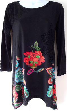 873d70f93957b New Desigual Ladies Top Black amp Multi Size XL Scoop Neck Floral  Print amp Sequins