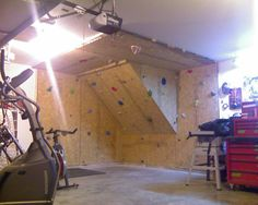 Bouldering wall in the garage