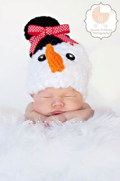 Baby Crochet Girl Boy Frosty the Snowman Christmas Photography Prop Halloween Costume - Treasured Little Creations