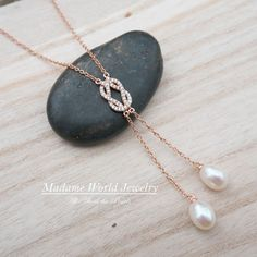 Freshwater Pearl, CZ Infinity Knot Lariat Necklace, Y Necklace – Madame World Jewelry