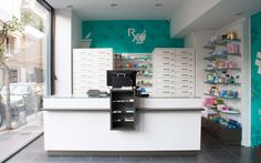 KDI CONTRACT designed and constructed a new pharmacy at Dafni, offering the pharmacist a tailor-made solution covering his needs. Pharmacy Store, Contract Design, Construction, Decoration, Desk, Interior Design, Clinic, Projects, Furniture