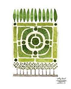 Print: Knot Garden No. 1 Medium: archival giclee reproduction print, open edition Paper type: cotton rag paperSize: 11 x inches, 28 x vertical format, LARGE size available Signature: Golly Bard Editions chop markPalette: green, brownUnframedGolly Bard Vegetable Garden Planning, Vegetable Gardening, Organic Gardening, Garden Illustration, Art Plastique, Illustrations, Graphic, Garden Art, Topiary Garden