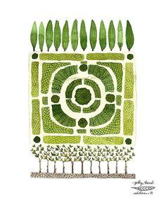 nodo giardino n. 1 acquerello riproduzione stampa