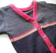 Men's sweater refashioned into boy's cardigan @Andrea Garza this is an adorable idea for Dresden