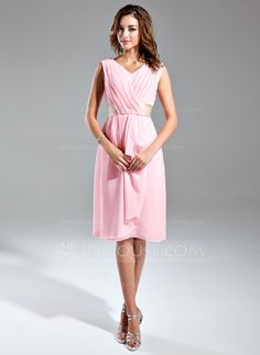 A-Line/Princess V-neck Knee-Length Chiffon Satin Bridesmaid Dress With Sash Cascading Ruffles (007024295) - JJsHouse
