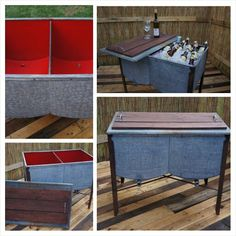 This is a vintage 1950's IDEAL double sink tub! Stained and sealed reclaimed wood slats and handles were added to the lid for a convenient serving tray. Finished the inside of the tubs with an awesome apple red. Two classic functioning drain plugs.