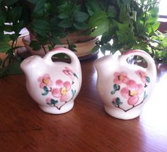Vintage Teapot Salt and Pepper Shakers Hand Painted Pink Flowers  by ChristleCollection on Etsy