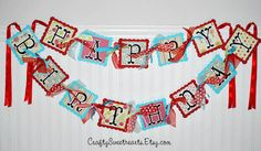 Happy Birthday Banner Sweet Apple Theme in Red and Turquoise