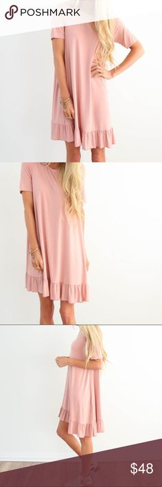 🎉NEW ARRIVAL🎉 NWT Ruffle Bottom Dress in Rose * This dress is not lined, but does not need a slip  Model is 5'3 wearing size small  96% Rayon, 4% Spandex handwash cold / hang dry Dresses