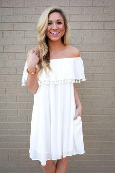 Boardwalk Bliss Off Shoulder Dress in White