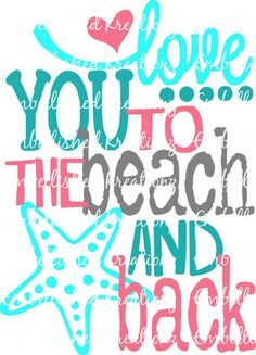 I love the beach! This decal is so cute! Let your imagination be your guide! Perfect for all the beach lovers out there living the beach life; Amazing for paper crafts, card making, window decals, wall décor, car decals, tumbler cups, wearables, scrapbooking... you name it! The possibilities are endless.  This listing is for ONE custom Love You to the Beach and Back with Heart/Dots/Starfish premium vinyl decal with FOUR colors shown or up to FOUR colors of your choice. These letters...