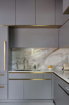 Gold tap in grey metro&urbo Roundhouse kitchen #kitchenstyles