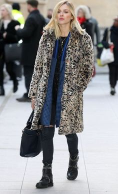 Fearne Cotton in a leopard print, black dress, blue scarf and biker boots