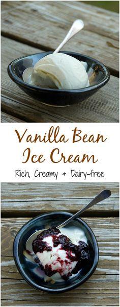 Rich, creamy dairy-free homemade Vanilla Bean Ice Cream made with coconut milk