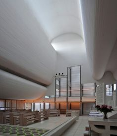 jørn utzon, bagsværd kirke - bagsvaerd church, copenhagen by… Church Architecture, Religious Architecture, Interior Architecture, Interior Exterior, Interior Design, Church Interior, Jorn Utzon, 3d Studio, Happy Birthday