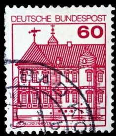 german castle stamps: GERMANY - CIRCA 1977: A stamp printed in Germany shows Rheydt castle, circa 1977