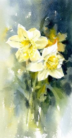 17 Best images about Watercolor Flowers Daffodils on . Watercolor Projects, Watercolor Cards, Watercolor Print, Watercolour Painting, Watercolor Flowers, Painting & Drawing, Watercolors, Gravure Photo, Flora Und Fauna