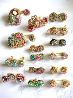 Colorful pins and earrings