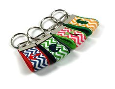 Embroidered Anchor / Whale / Palm Tree / Alligator  Preppy Chevron Keychain Finger Key Fob on Etsy, $5.99