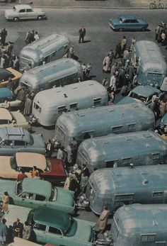 1950s Airstream Trailers Camper Trailers Vintage Color Photo Automobiles Cars