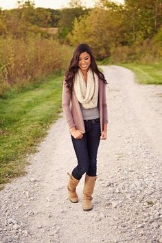 Simply cute...cardigan, boots, and infinity scarf