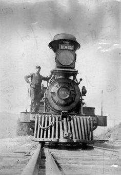 Union Pacific Rail Road locomotive 1894. Not sure about this gentlemen, i don't think he's the 'look out'.....maybe the guy that shovels in the coal to make the locomotive move or engineer that always has his head out the window to see the condition of the train track?