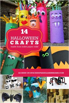 14 Halloween Kids Crafts Made from Toilet Paper Rolls - Spaceships and Laser Beams