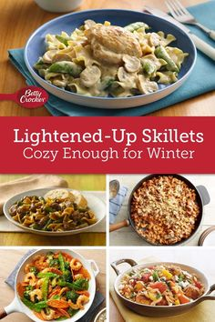 Save your calories for cookies with these lightened-up skillets simple enough for weeknights. One Dish Dinners, One Pot Meals, Main Meals, Dump Dinners, Easy Dinners, Cookbook Recipes, Cooking Recipes, Healthy Recipes, Skinny Recipes