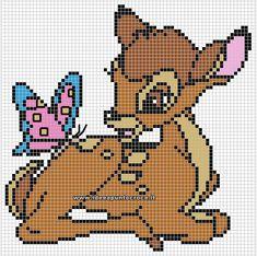 bambi disney baby a punto croce Disney Cross Stitch Patterns, Cross Stitch For Kids, Cross Stitch Charts, Counted Cross Stitch Patterns, Cross Stitch Embroidery, Embroidery Patterns, Crochet Patterns, Beading Patterns, Hand Embroidery