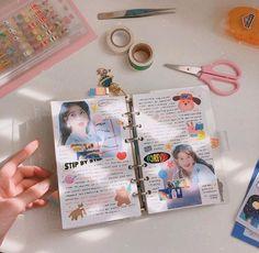 Bullet Journal Notes, Bullet Journal Aesthetic, Bullet Journal Spread, Bullet Journal Ideas Pages, Bullet Journal Inspiration, Art Journal Pages, Memory Journal, Journal Diary, Kpop Diy
