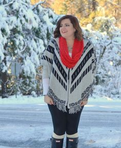 Graceful Glamour Girl NY Collections Poncho in the snow