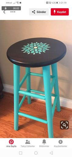 Stenciled bar stool painted with the color Azure from Fusion Mineral Paint then sealed with General Finishes High Performance Flat top coat. Funky Painted Furniture, Paint Furniture, Repurposed Furniture, Furniture Projects, Furniture Makeover, Furniture Design, Art Projects, Painted Bar Stools, Painted Chairs