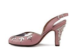 Pink leather sling back peep-toe shoes with metal decoration and rhinestones on the heels.  USA. 1956-1958, Gainsborough
