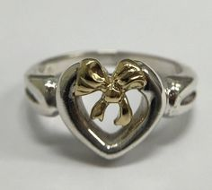 Authentic Feminine and Daintyfeminine Return to Tiffany & Co. Sterling Silver and 18K Gold Heart and Bow Ring - Like New! by Tiffanytreasureshop on Etsy