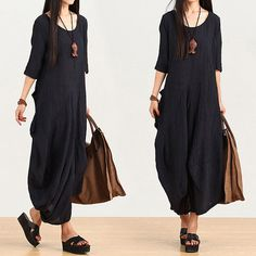 black summer dress loose linen dress maxi dress plus size dress casual loose…