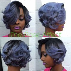No leave out Vintage curly bob! Is it ice blue or grey? This is The Rose Affect! Get Pricked by A Rose. Txt 7706484442 to book. Dope Hairstyles, Curled Hairstyles, Pretty Hairstyles, Winter Hairstyles, Hairdos, Pixie, Natural Hair Styles, Short Hair Styles, Beautiful Hair Color