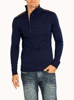 Italian merino suede insert sweater