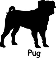 "Free Pug Dog Clip Art Image: Pug dog silhouette with the word, ""Pug"""
