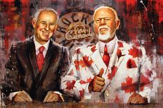 Hockey art print of Ron MacLean and Don Cherry from Hockey Night in Canada. Quality canvas print ready to hang. Various size and framing options. Hockey Man Cave, Hockey Mom, Hockey Stuff, Ice Hockey, Hockey Posters, Don Cherry, Hockey World, Pittsburgh Penguins Hockey, Nfl Fans