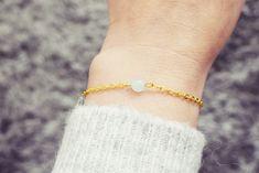 Gold Chain Bracelet | Blue Jade Gemstone Bracelet | Single Bead Bracelet | Healing Crystal Bracelet Jade Bracelet, Gemstone Bracelets, Handmade Bracelets, Crystal Healing, Gold Chains, Gemstones, Gift Ideas, Jewellery, Crystals