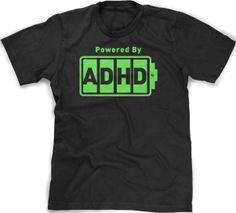 Crazy Dog Tshirts Unisex-child Battery Powered ADHD T-Shirt