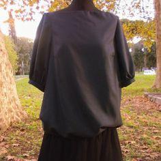 abito in fresco di lana con gonna plissè in crèpe georgette  (fronte)
