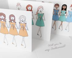 Will you be my Bridesmaid cards, Personalized bridesmaid cards, Choose Will you be my bridesmaid or