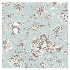 Light Blue Floral Toile Sateen Fabric - Beautiful sky blue & gray toile floral cotton sateen. Modern or traditional? You be the judge.Recove...