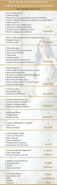 How to Plan Your Wedding: A Month by Month Planning Guide | the overall vision of your wedding is often the easiest part. And how do you know when and how things should be done? That's why using a wedding planning timeline checklist is key to making your dreams a reality. This to-do list will help steer you in the right direction and bring your vision to life! Get it tips at https://bestbrilliance.com/blog/-your-complete-monthly-wedding-planning-timeline-checklist/ | On A Budget