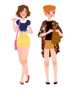Modern Rapunzel and Anna made by Punziella. Disney Dream, Disney Style, Disney Love, Disney Magic, Disney High, Disney And Dreamworks, Disney Pixar, Walt Disney, Disney Characters