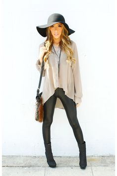 Taupe Button Up Trapeze Blouse + Leather Pants + Furry Crossbody Bag + Black Ankle Boots